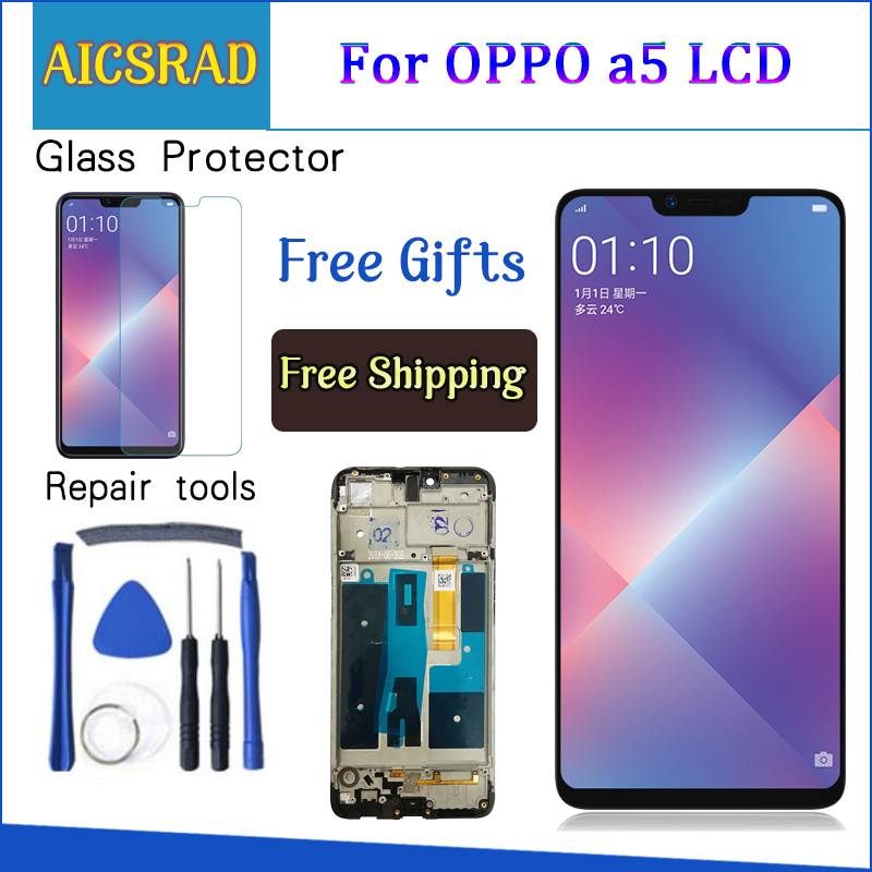 6.2'' For OPPO A5 LCD Display Panel Touch Screen Digitizer Assembly For OPPO A3S CPH1803 LCD Display