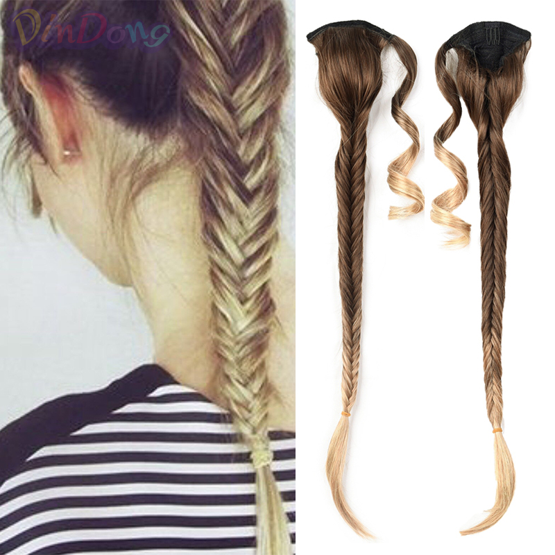 DinDong 24 inch Ponytail Extensions Synthetic Fishtail Braids Pony tail Clip in Drawstring Ponytail hair Ombre Color