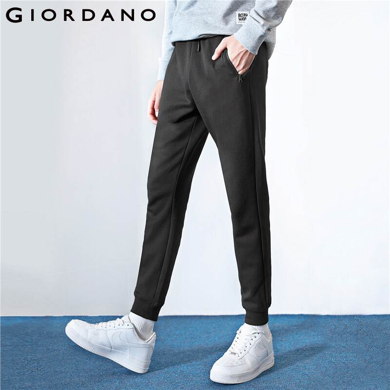Giordano Men Pants Zip Pocket Doulbe Knit Pants Banded Cuffs Solid Joggers Men Calca Masculina Spodnie 01119889