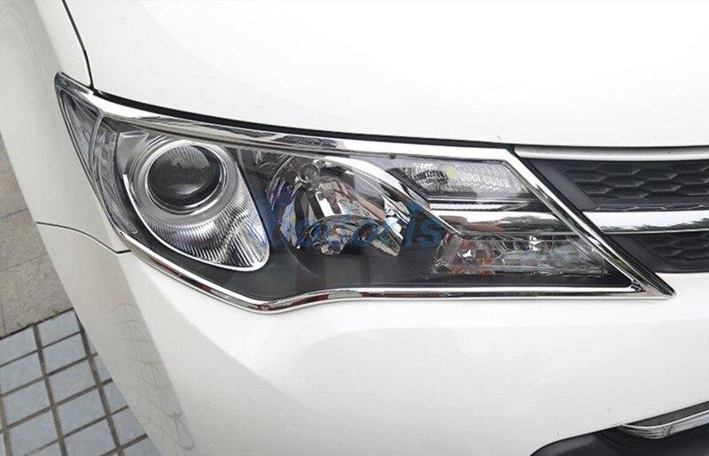 Chrome voiture style phare couverture lumière superposition garniture panneau cadre 2014 2015 pour Toyota RAV4 accessoires