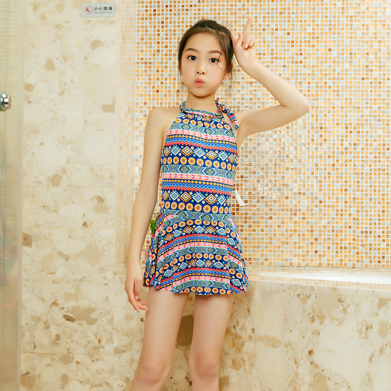 2019 New Style GIRL'S Swimsuit Europe And America Small Floral Children Bathing Suit 6-9-Year-Old Students Beauty Back Tour Bath