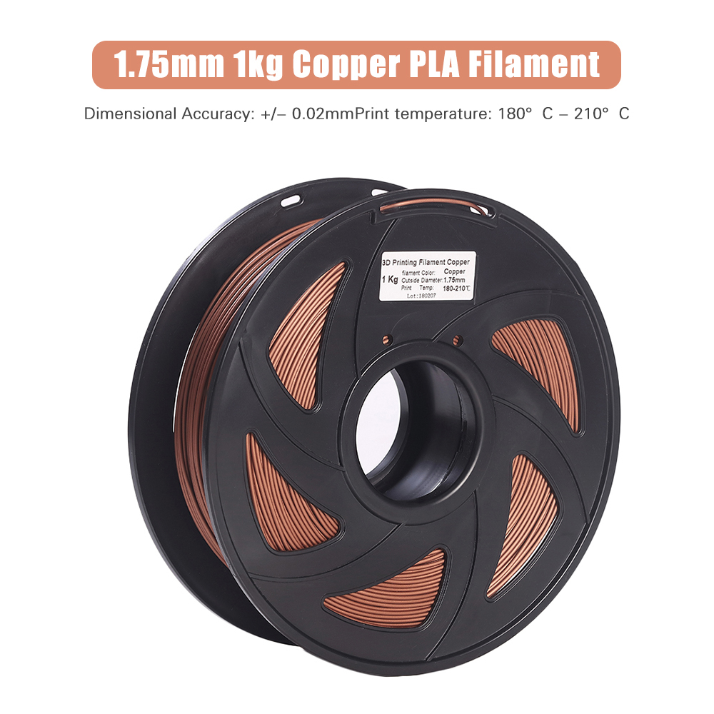 3D Printer Filament Copper + PLA 1.75mm 1kg Spool Dimensional Accuracy +/ 0.02mm