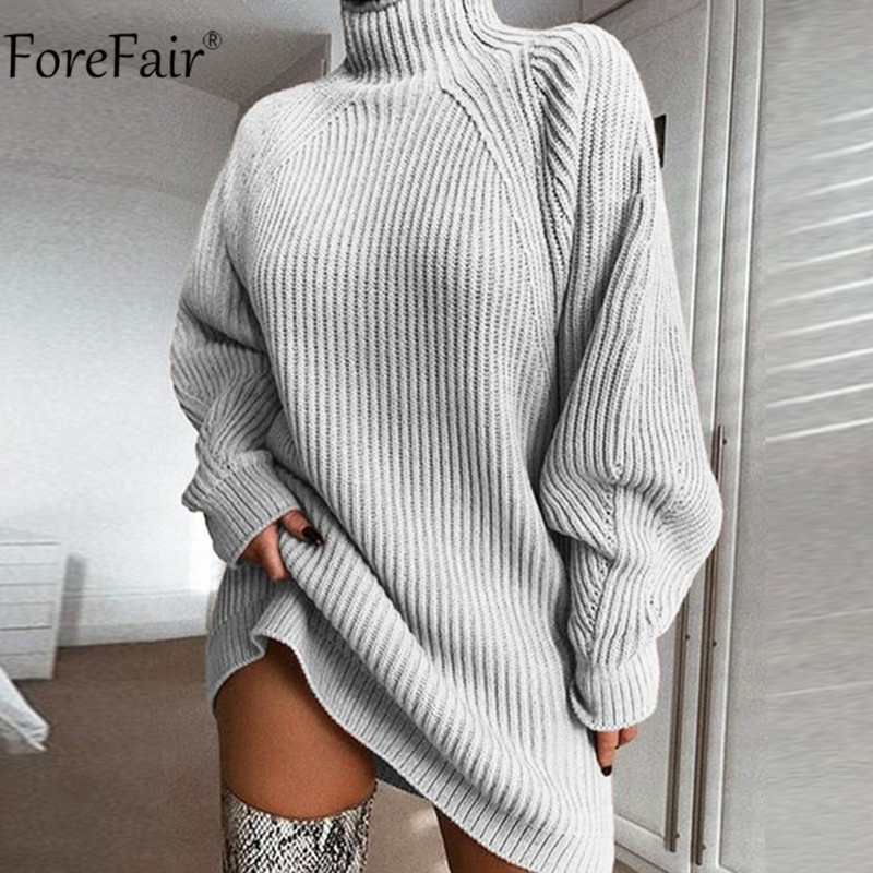 Forefair Turtleneck Long Sleeve Sweater Dress Women Autumn Winter Loose Tunic Knitted Casual Pink Gray Clothes Solid Dresses(China)
