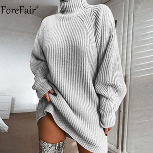 Forefair Turtleneck Long Sleeve Sweater Dress Women Autumn Winter Loose Tunic Knitted Casual Pink Gray Clothes Solid Dresses