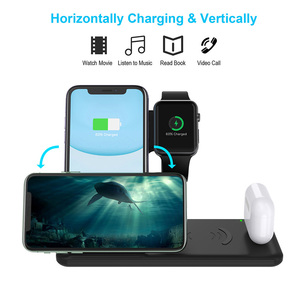Image 4 - 4 ב 1 טעינת Dock תחנה עבור Apple שעון iPhone X XS XR 8 11 Samsung S20 S10 Airpods פרו 15W Qi מהיר אלחוטי מטען Stand