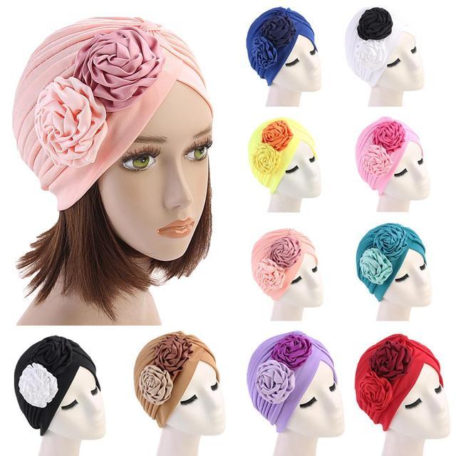女性ダブル花ターバン帽子イスラム教徒ビーニーボンネット化学がんキャッププリーツヘッドスカーフカバーイスラムファッションヘッドラップストレッチ