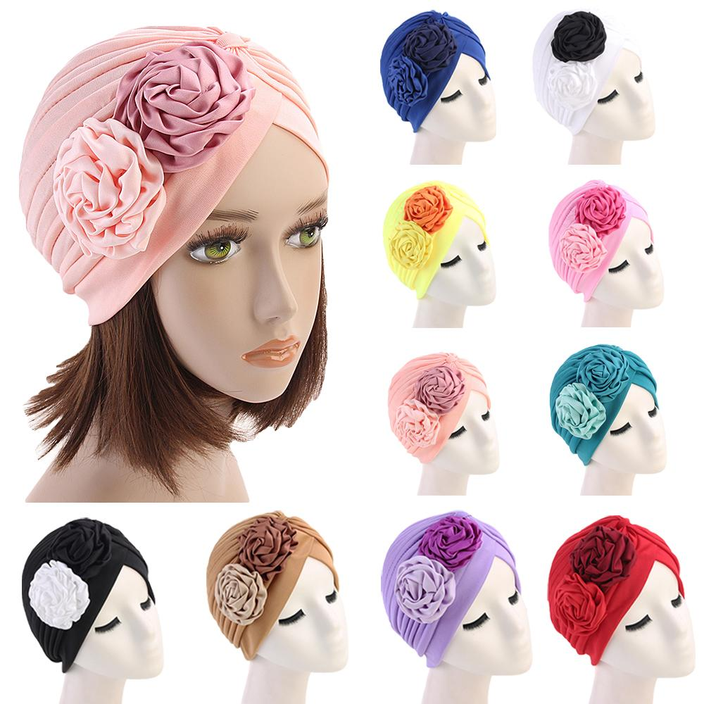 Women Double Flower Turban Hat Muslim Beanie Bonnet Chemo Cancer 