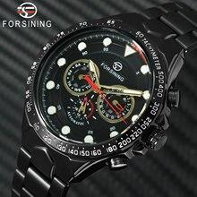 ساعة يد رجالية أوتوماتيكية من FORSINING بسوار من الفولاذ المقاوم للصدأ ، ساعة يد رياضية من 3 ساعات فاخرة ماركة فاخرة