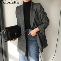 Colorfaith New 2019 Autumn Winter Women's Blazers Plaid Double Breasted Pockets Formal Jackets Notched Outerwear Tops JK7113