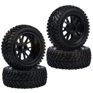 Image 5 - 4pcs 75x28mm Tires & Aluminum Wheels 7mm Hubs for WLtoys A959 A949 A969 A979 A959B A969B A979B 1/18 RC Car Spare Parts