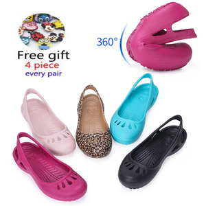 women Clogs Jelly Sandals Home Non-slip Summer Hole Shoes Female Flat slippers Plastic Female Girls Waterproof EVA Garden Shoes(China)