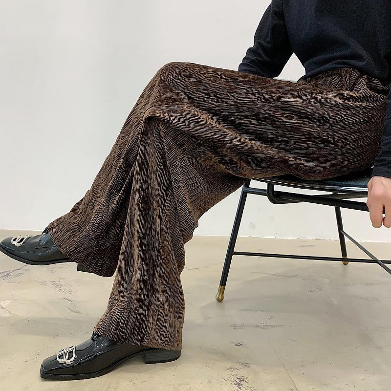 Four Seasons Men Wide Leg Pants Velvet Crumpled Design Loose Drape Straight-leg Trousers Trendy Men's Japanese Casual Pants