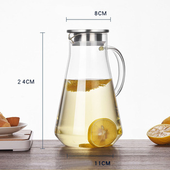 900-1800ML Thickened Glass Big water bottle with Stainless Steel Lid Carafe boiling wate Juice Glass Pitcher Bottle botellas 6