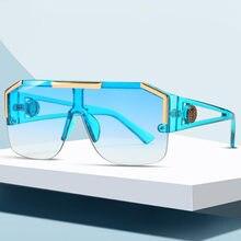Lunettes de soleil carrées surdimensionnées pour hommes et femmes, marque de luxe, à la mode, Vintage, grand cadre en métal, demi-bord, lentille, UV400, 2020