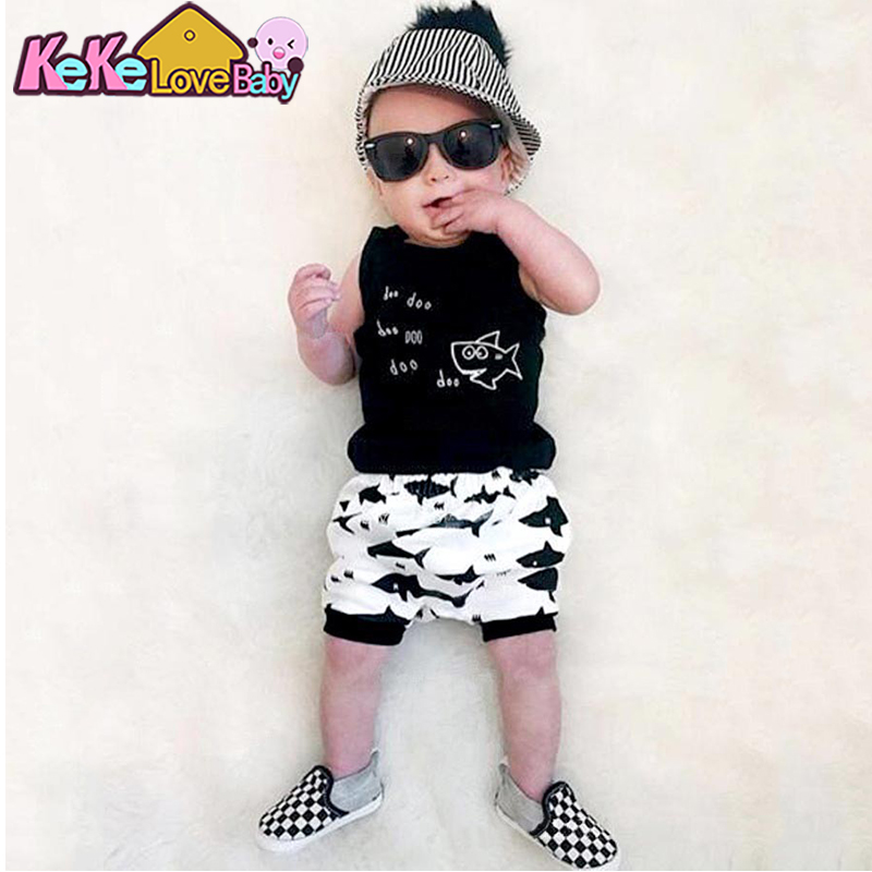 2020 New Style Summer Baby Clothing Sets Boy Cotton Cartoon Sleeveless Vest T-shirt Pants 2Pcs New born Infant Baby Boys Clothes