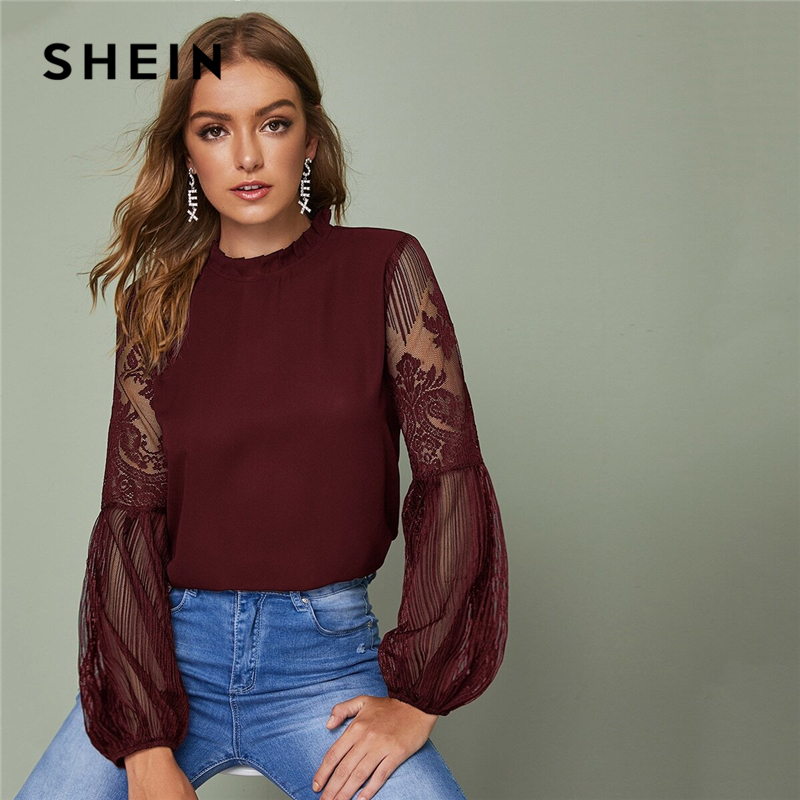 SHEIN Frilled Neck Lace Sheer Elegant Blouse Top Women 2019 Spring Autumn Stand Collar Bishop Sleeve Tops And Blouses 2