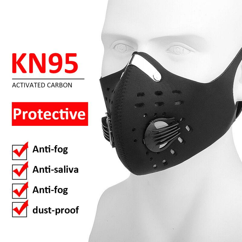 1Pc Replaceable Filter Activated Carbon Cycling Mask Black Anti-fog Protector Mask Mask With Breathing Valve For Outdoor Sports