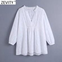 ZEVITY kadın moda Agaric dantel V boyun nakış beyaz önlük bluz kadın rahat Kimono gömlek Roupas Chic Blusas Tops LS9161