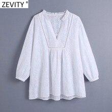 ZEVITY moda damska koronka warstwowa V Neck haft biała bluzka bluzka damska Casual koszule Kimono Roupas Chic Blusas topy LS9161