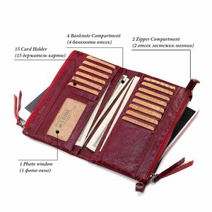 Image 5 - Fashion Wallet Women Wallet Female Purse Genuine Leather Design Female Purse Money Handbag Case Phone Pocket Carteira Feminina