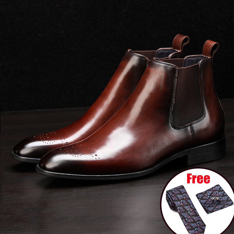 Men Winter Boots Genuine Cow Leather Chelsea Boots Brogue Casual Ankle Flat Shoes Comfortable Quality Slipon Dress Boots