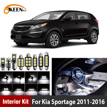 9Pcs White Canbus LED Car Interior Light Bulbs Package Kit For Kia Sportage 2011 2012 2013 2014 20152016 Map Dome Trunk Lamp free shipping 3pcs lot car styling xenon white premium package kit led interior lights for kia rio hatchback 2012