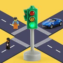 Мини-дорожные знаки, дорожный светильник, блок со звуком, светодиодный, Детская безопасность, обучающая игрушка, детские развивающие игрушки