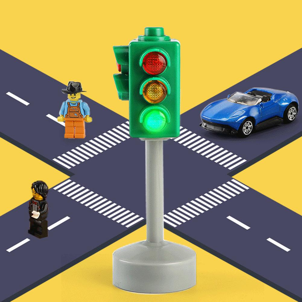 Mini Traffic Signs Road Light Block With Sound LED Children Safety Education Toy Kids Educational Toys