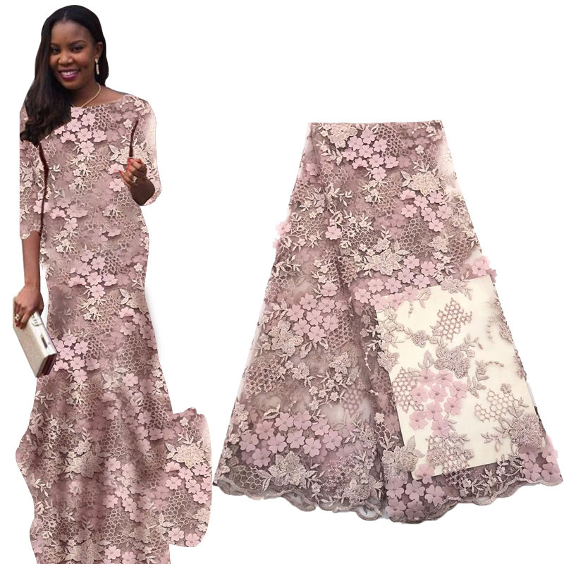 Latest French Swiss Tulle 3D Lace Fabrics 2019 African Voile Lace Fabric Wedding Party Dresses Nigerian Lace Fabrics
