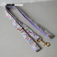 Nylon design of stamping printing bow dog collar with gold metal adjustable buckles pet leash factory price good quality