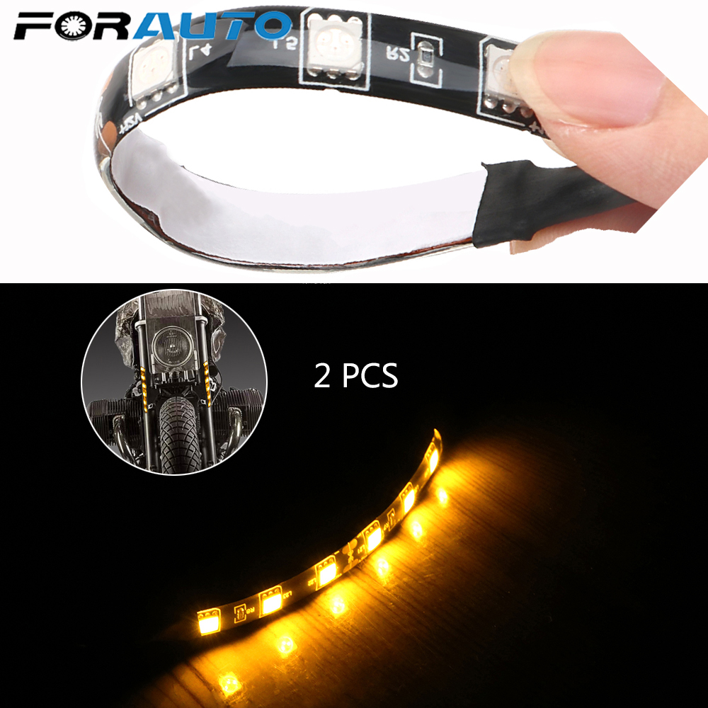 FORAUTO 2pcs Indicator Blinker Amber MIni Flexible Motorcycle Turn Signal Light Light Strip Universal LED 12V