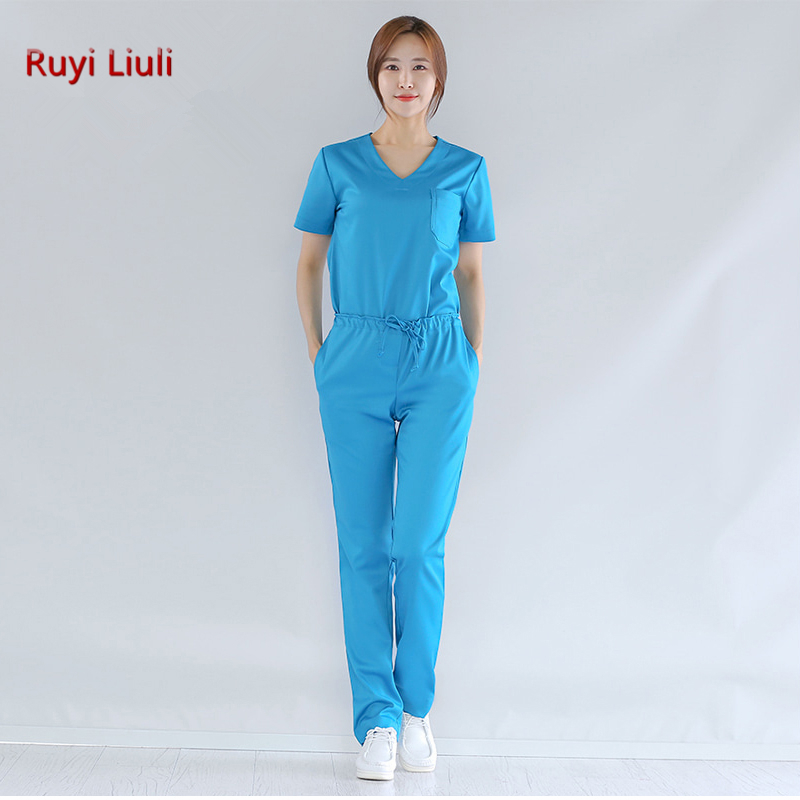 Ruyi Liuli Elastic Medical Scrubs Hospital Staff Uniforms Pretty Nursing Clothes and Salon Slim fit fashion design Surgical gown in Scrub Sets from Novelty Special Use
