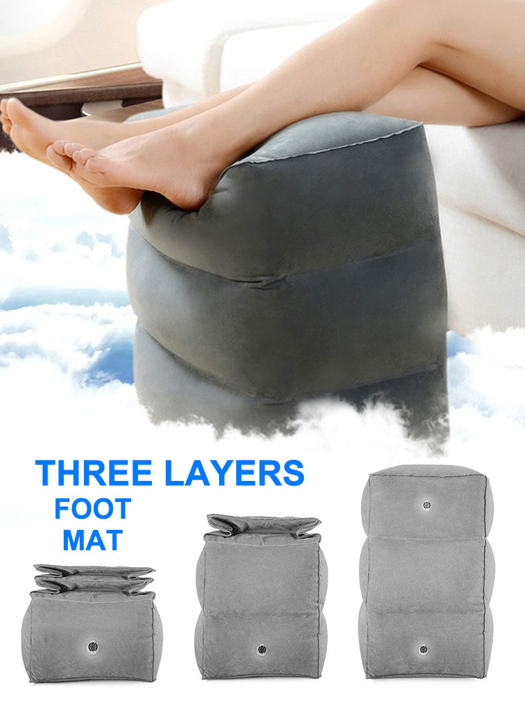 Newest Foldable Pouf Bed Inflatable Portable Travel Footrest Pillow Portable Plane Train 3 Layers Adjustable Flight Leg Cushion