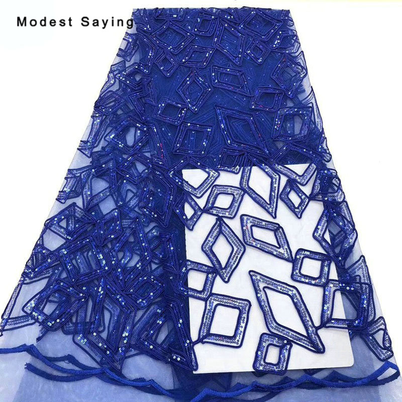 5 Yards Royal Blue Sequined Geometric Lace Fabrics For Evening Dress 2019 Embroidered Mesh Party Prom Tulle Lace Material