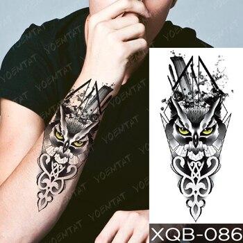 Waterproof Temporary Tattoo Sticker Green Eye Totem Wolf Flash Tattoos Death Lion Crown Body Art Arm Fake Tatoo Women Men 5