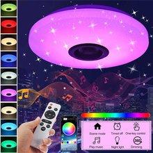 60W rvb Dimmable musique plafonnier télécommande et APP contrôle plafonniers AC180-265V pour la maison bluetooth haut-parleur luminaire