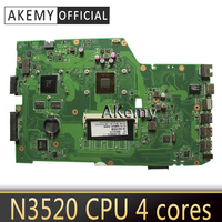 Akemy X751MD Laptop motherboard for ASUS X751MD X751MJ X751M K751M Test original mainboard N3520 cpu 4 cores 2.167 GHZ