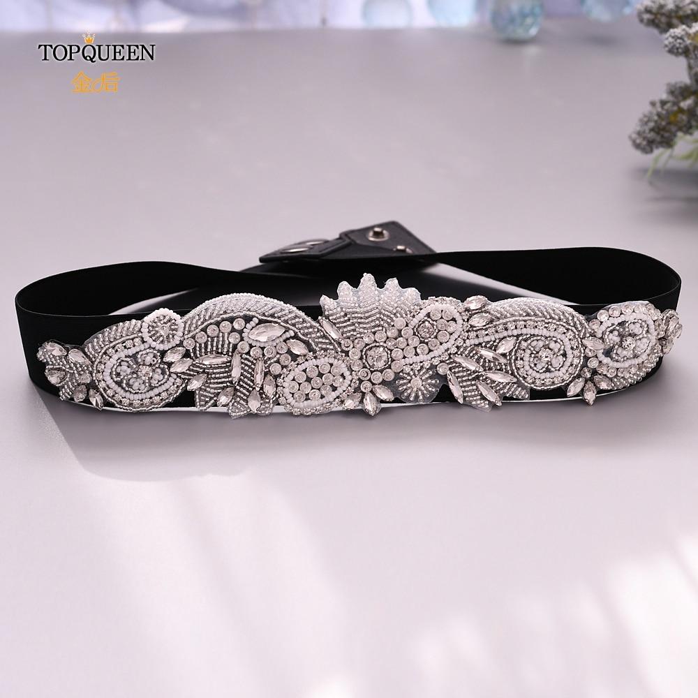 TOPQUEEN Women's Black Elastic Rhinestone Belt Black Beaded Belt Black Evening Belt Pearl Belts For Dresses Bridal Belt S280
