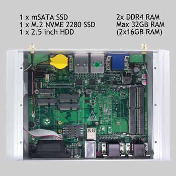2 DDR4 Mini PC Core i7 8550U i5 10210U 8265U LPT HDMI GPIO 6*COM 4*RS485 Windows 10 Dustproof Fanless Mini Industrial Computer