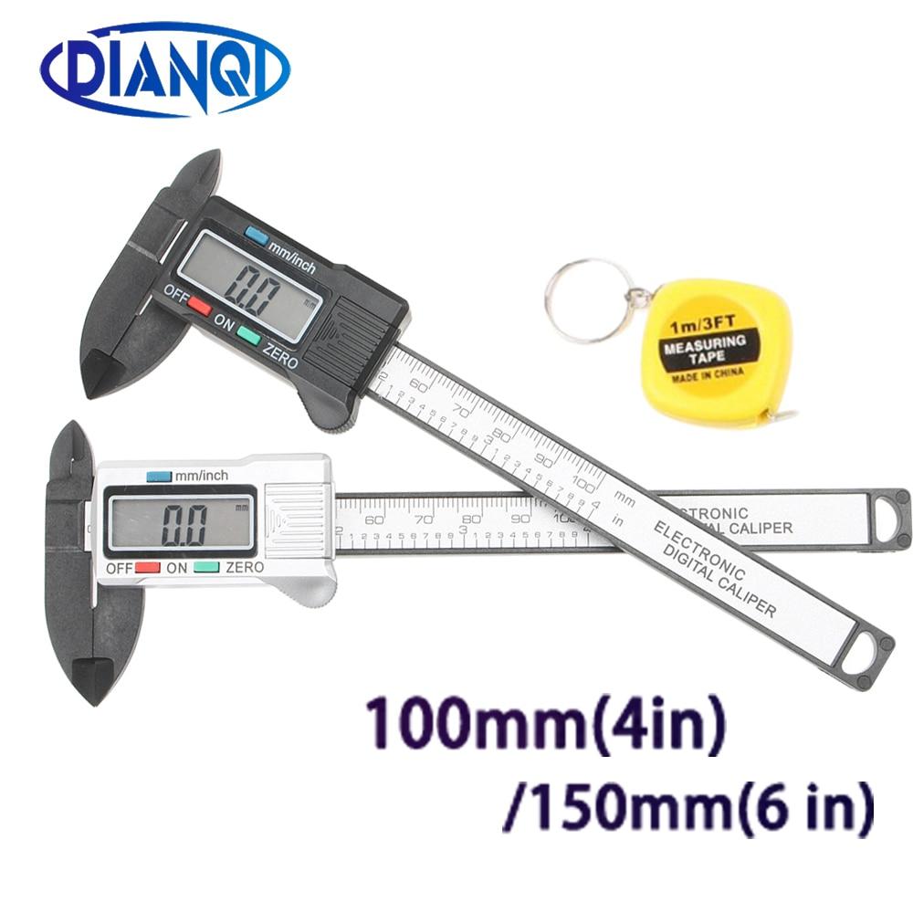 100/150mm 4/6 Inch LCD Digital Electronic Carbon Fiber Vernier Caliper Gauge Micrometer Measuring Tool  1m Tape Measure