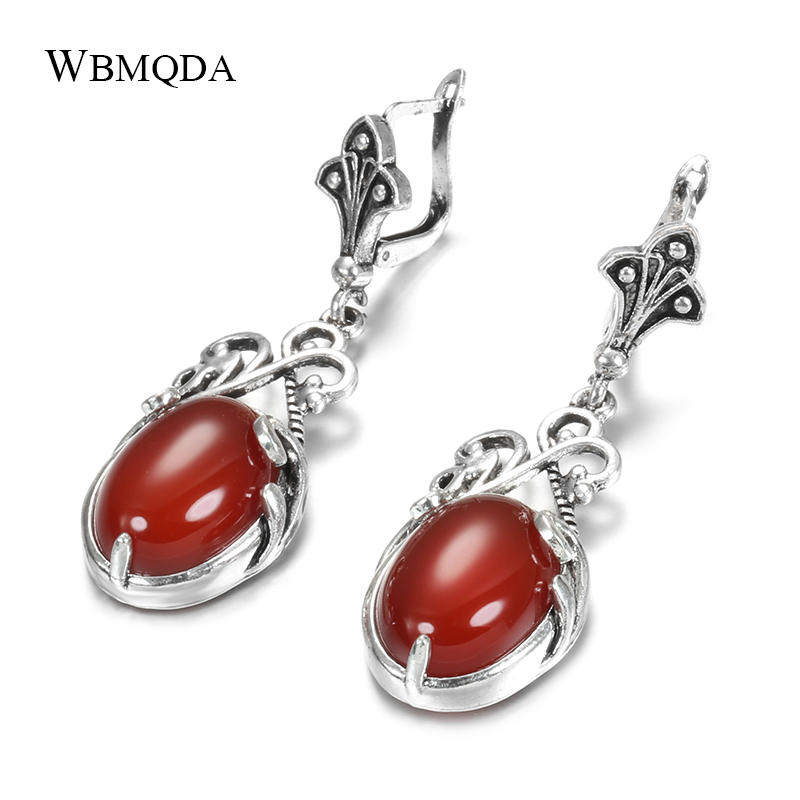 Wbmqda Boho Natural Stone Drop Earrings Tibetan Silver Beach Party Indian Bride Earrings Wedding Jewelry