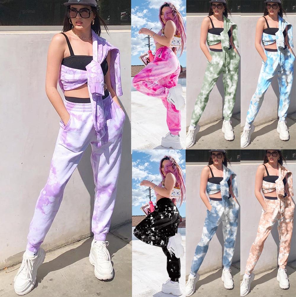 2020 New Tie Dye Sweatpants Women Joggers Casual Trousers Baggy Pants Streetwear High Waist Sweat Pant Woman Full Capris Rainbow