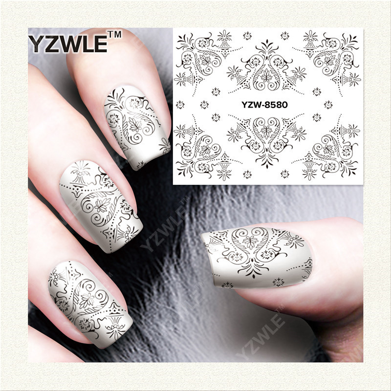Yzw Manicure Great Quality All Film Environmentally Friendly Health Nail Polish Adhesive Paper Black And White Lace Flower Stick