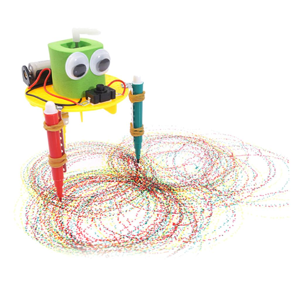 DIY Cute Doodle Drawing Robot Science Experiment School Kids Helping Create Patterns Stimulating Creativity Educational Toy Gift