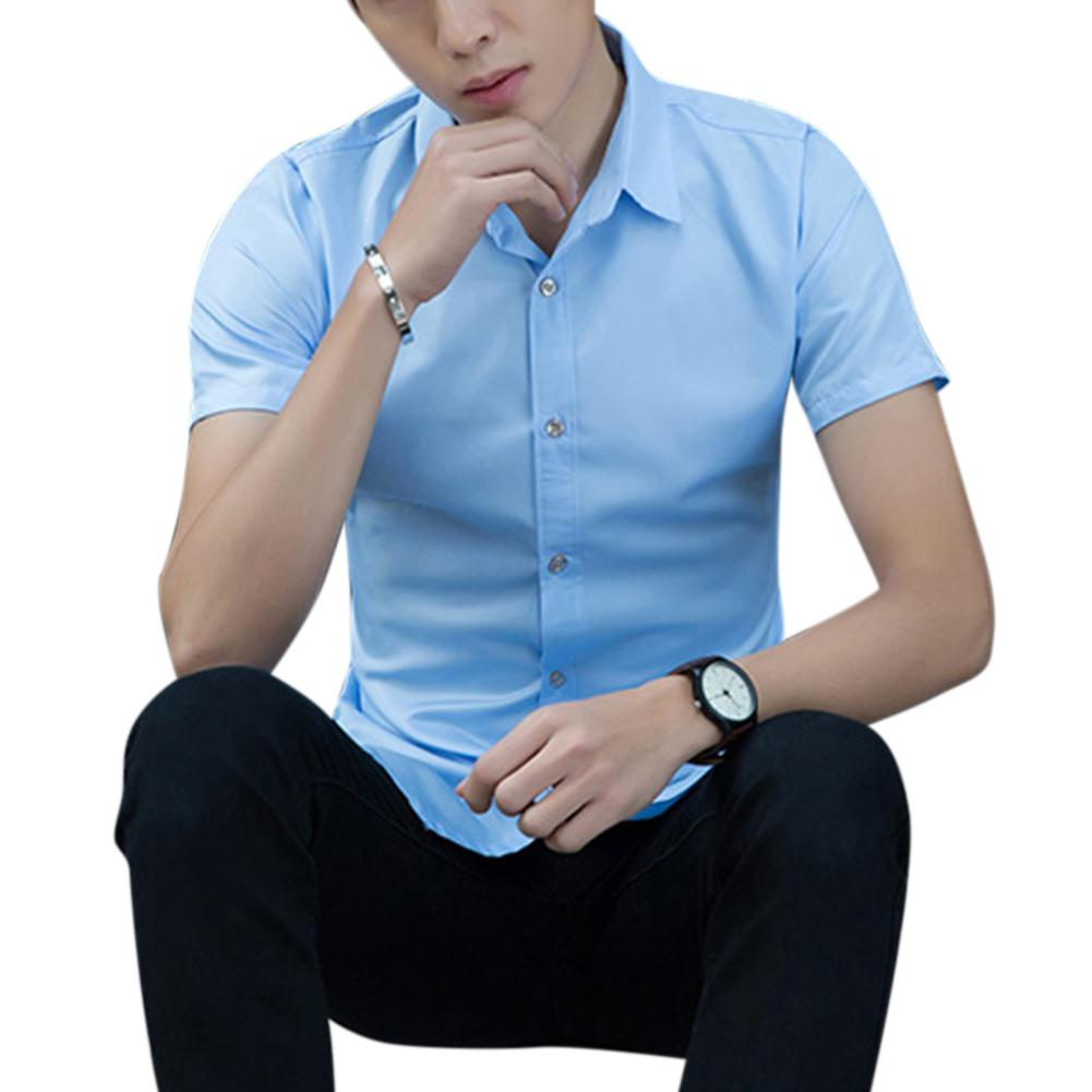 Men Fashion Short-sleeved Shirts For Yfashion Solid Color No Ironing Business Attire Slim Tops