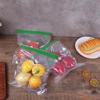 1 Juego de bolsas de nevera de alimentos al vacío con válvula de aire de doble cremallera sellador de bolsas de embalaje de carga seca con vacío Manual de la bomba
