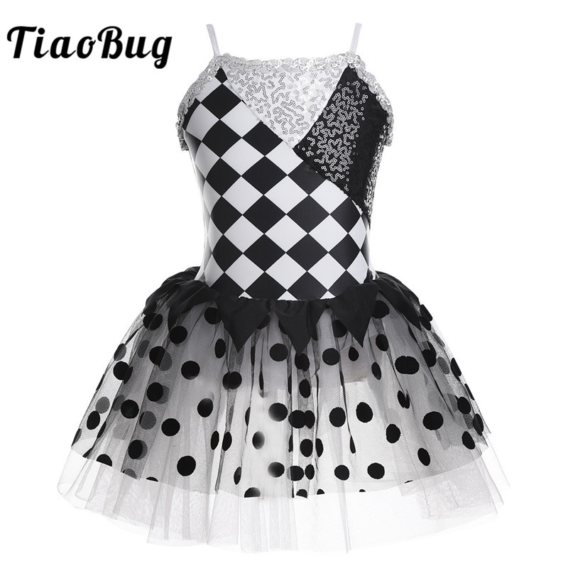 TiaoBug Kids Spaghetti Straps Shiny Sequins Geometrical Pattern Mesh Tutu Ballet Dress Girls Gymnastics Leotard Dance Costume