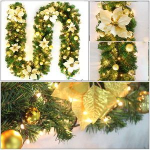 Image 5 - LED Christmas Artificial Garland Wreath 2.7m Green For Xmas Home Party Christmas Decor Rattan Hanging Wreath Garland Ornament