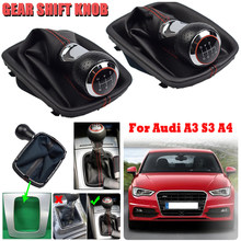 5 / 6 Speed Car Styling MT Gear Shift Knob Lever Stick Gaiter Boot Cover Case for AUDI A4 B5 8D 1994-2001