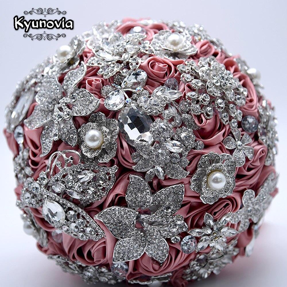 Broche en argent bouquet haut de gamme mariage personnalisé bouquets de mariée Blush rose Satin Roses strass fleur cristal Bouquet BY50